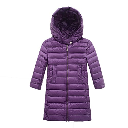 Zip Plain Purple Jacket EkarLam® Chic Coat Hooded Long Children Outwear Down Kids pqw4Y