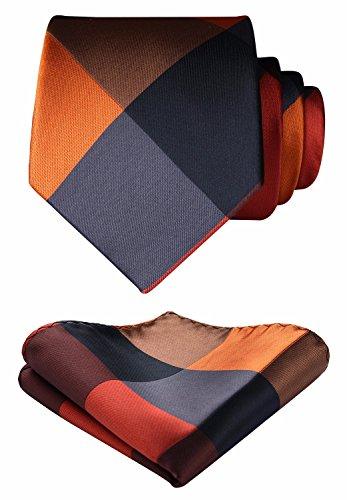 Enmain Check Jacquard Woven Men's Wedding Silk Tie Pocket Square Necktie Set Orange/Black