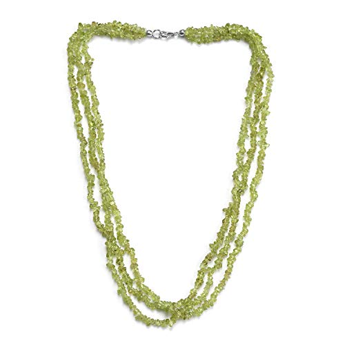 Peridot Chips Bead Strand Necklace 925 Sterling Silver Platinum Plated Jewelry for Women Size 20