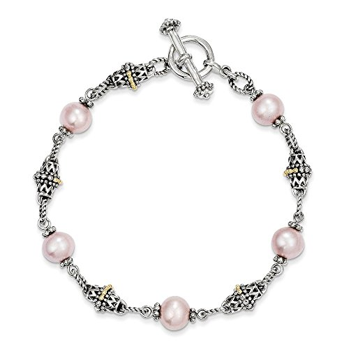 Sterling Silver w/14k Gold 9-10mm Freshwater Cultured Pink Pearl 7.5in Bracelet 7.5 Inches Long (Necklace Bracelet Pearl Pink Real)