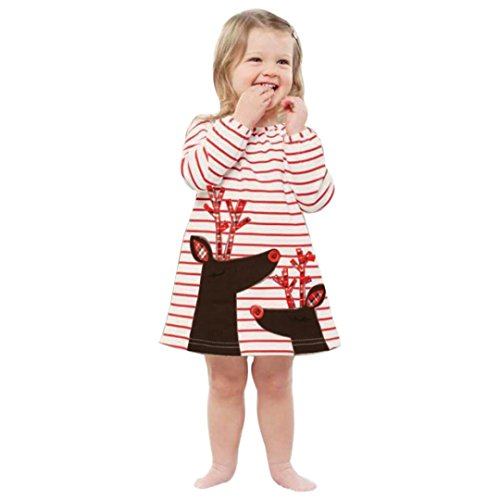 Toddler Kids Baby Girls Christmas Outfits Long Elastic Sleeve Deer Striped Princess Dress (5T, White) (Overlay Onesie Dress)