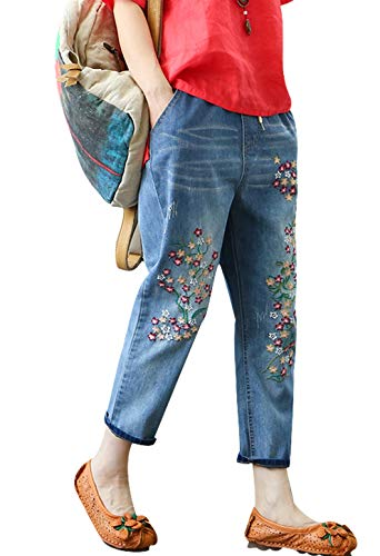 Women Floral Embroidery Jeans picture