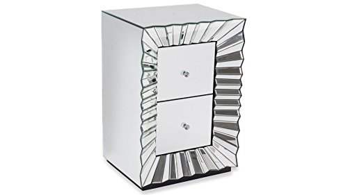 Zuri Furniture Modern 2 Drawer Mirrored Glass Garbo Accent Table