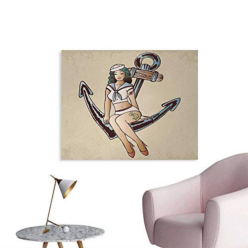 Sailor Heart Tattoo (Tudouhoho Anchor Wall Poster Pinup Girl with Sailor Outfit Shark and Heart Tattoo Vintage Twenties Illustration Wall Sticker Decals Multicolor W32 xL24)