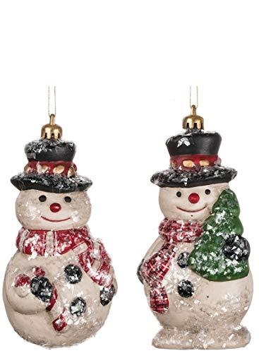 Sullivans - Adornos navideños con Cristales de Nieve, diseño de muñeco de Nieve, Juego de 12 en 2 Estilos, 5,7 x 11,9 cm...