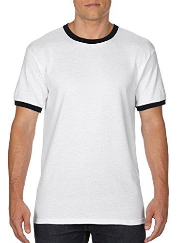 White Contrast Neck T-shirt - Gildan Men's DryBlend Preshrunk Contrast Neck T-Shirt, Medium, White/ Black
