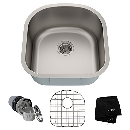 - Kraus KBU15 20 inch Undermount Single Bowl 16 gauge Stainless Steel Kitchen Sink