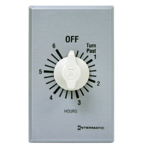 - Intermatic FF6H 6-Hour Spring Loaded Wall Timer, Plastic with Brushed Metal Effect