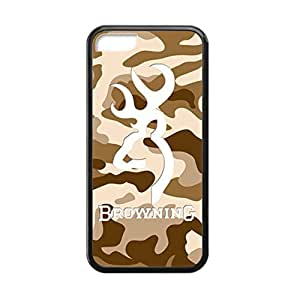 Browning Deer Camo for iPhone 5c Case Cover 016343 Rubber Sides Shockproof Protection with Laser Technology Printing Matte Result