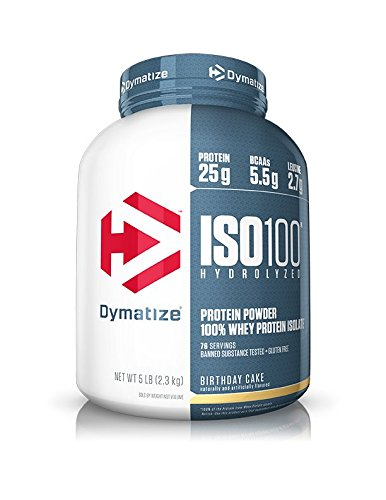 (Dymatize ISO 100 Whey Protein Powder with 25g of Hydrolyzed 100% Whey Isolate, Gluten Free, Fast Digesting, Birthday Cake, 5 Pound)