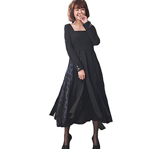 Mujer Negro Borla Vestir dama Cuadrado Cuello Largo Mangas Fiesta Vestidos 80Store Negro