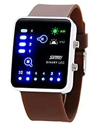 Nollimet Unisex LED Mini Digital Casual Touch Screen Sport Water Designer Style Watch Brown