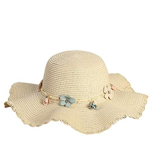 hositor Hats for Women, Women's Fashion Summer Beach Hat Outdoor Outing Sunscreen Straw Hat Beige ()