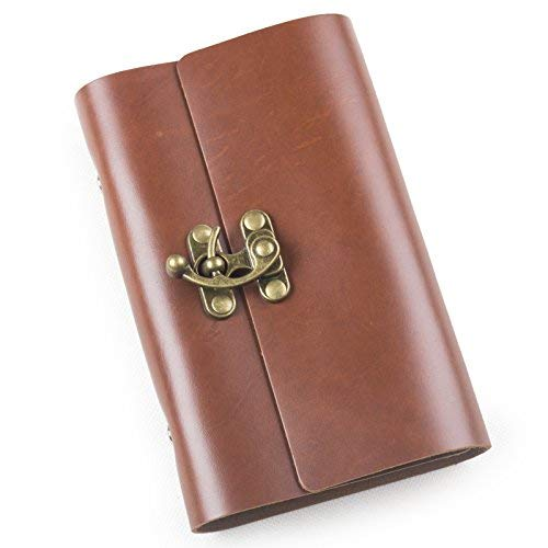Ancicraft Leather Journal Diary Notebook Refillable A6 with Clasp 6-ring Binder Lined Craft Paper (Red brown with clasp A6) [並行輸入品]   B07K9MN4KX