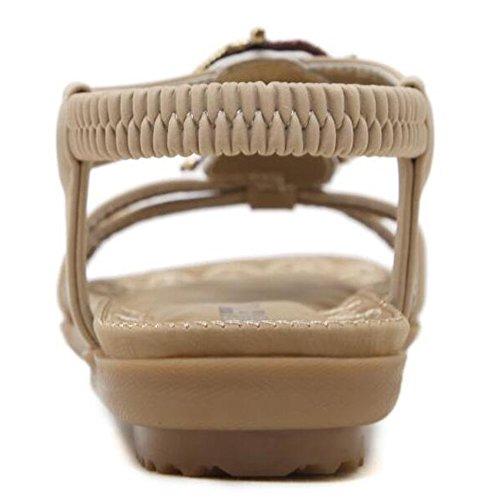 del de talón del del elásticas planas del dedo redondo de 2 clip poste playa Altura del del XIAOLIN pie dedo Cm del del verano Beige opcional la 5 Sandalias Sandalia tamaño planos las pie sandalias Zapatos OwE5x0q