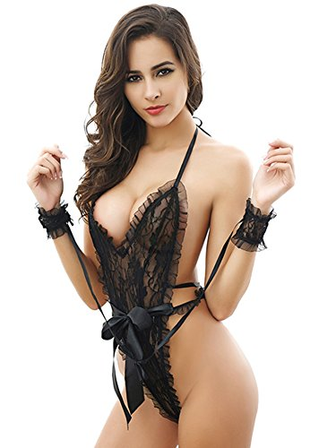 MEWOOCUE See through Strappy Lingerie Handcuff