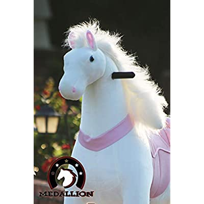 Medallion - My Pony Ride On Real Walking Horse for Children 5 to 12 Years Old or Up to 110 Pounds (Color Medium Pink Horse) for Girls 5 to 12 Years Old: Toys & Games