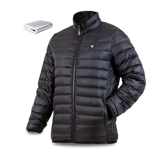 Price comparison product image delspring Men's Down Heated Jacket with Battery 12 Hour - Heated Coat,  Heated Jacket for Men 800 Down Fill (L) Black