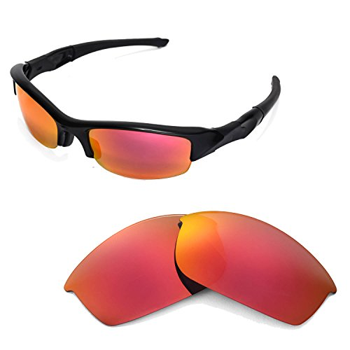 (Walleva Replacement Lenses for Oakley Flak Jacket Sunglasses -Multiple Options Available (Fire Red Mirror Coated - Polarized))