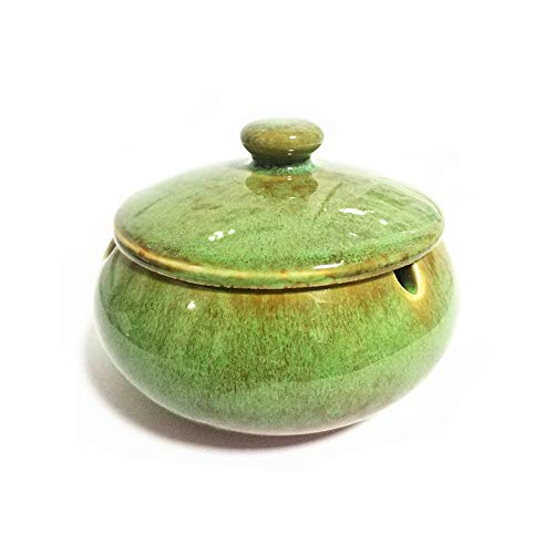 YDYX Home Ceramic Ashtray with Lids,Windproof,Ash Holder for Smokers,Desktop Smoking Ash Tray for Home Office Decoration (Green)