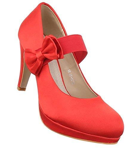 455e47fa4985 Damen Pumps Schuhe High Heels Stöckelschuhe Stiletto Plateau Rot Schwarz 36  37 38 39 40 Rot