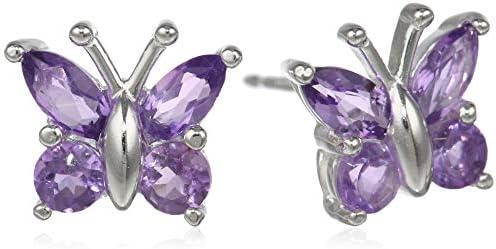 Sterling Silver Genuine or Created Gemstone Butterfly Stud Earrings