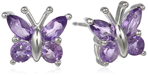 (Sterling Silver Genuine African Amethyst Butterfly Stud Earrings)