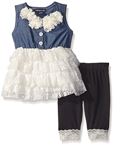 Limited Too Baby Girls' Chambray Lace Rolled Top and Capri Legging, Vanilla, 18 Months, Vanilla, 18 Months