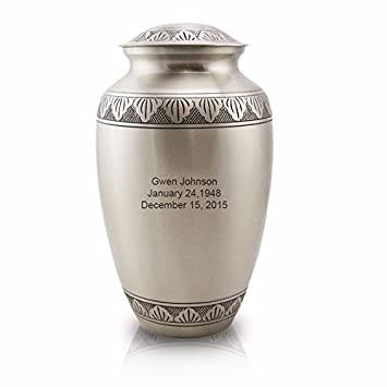 OneWorld Memorials Athena Pewter Brass Cremation Urn for Human – Large – Holds Up to 190 Cubic Inches of Ashes – Pewter Silver Cremation Urn for Human Ashes – Custom Engraving Included