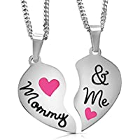 "Set of 2 Stainless Steel ""MOMMY & ME"" Engraved Breakaway Heart Pendant Necklace Mother/Daughter Gift Set"