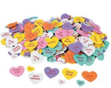 Foam Valentine Conversation Heart Stickers - Candy Heart Stickers (90 count, 2 packs)
