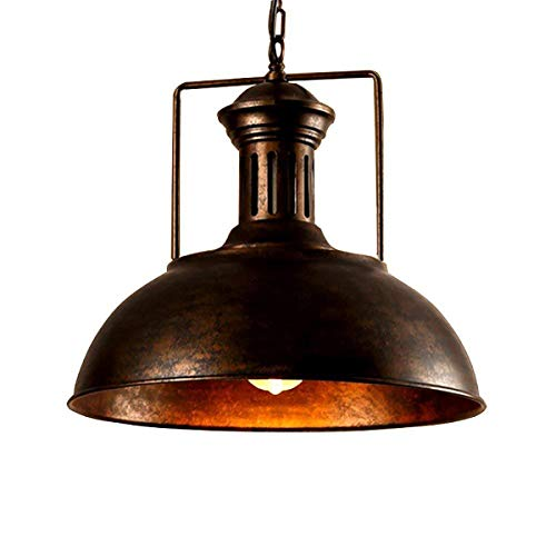(LMSOD Industrial Nautical Barn Pendant Light Single with Rustic Dome Bowl Shape Mounted Fixture Ceiling Lamp Chandelier)