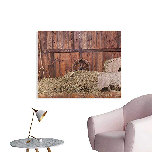 - Anzhutwelve Barn Wood Wagon Wheel Painting Post Rural Old Horse Stable Barn Interior Hay and Wood Planks Image Print Space Poster Brown Dust W48 xL32
