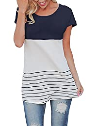 Women's Long Sleeve Tops Casual Stripes T-Shirt Reglan Sleeve Tunics Blouse