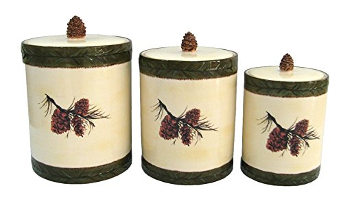 Pinecone Stoneware Canister Set - 3 - Design Pinecone