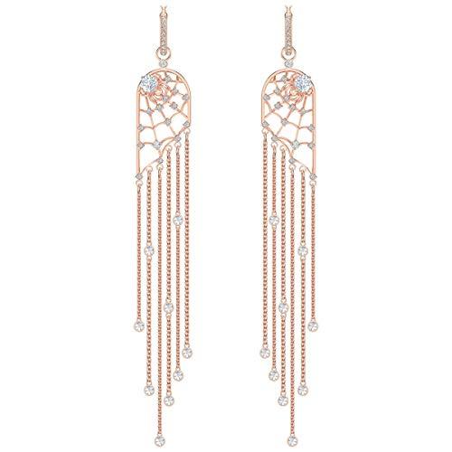 (Swarovski Precisely Chandelier Pierced Earrings White Rose Gold Tone Plated)