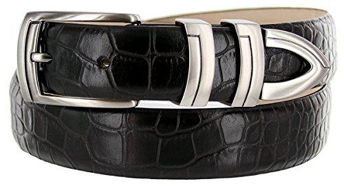 Skinny Leather Belt Calf (Hagora Men Eclectic Embossings Calfskin Leather 1-1/8