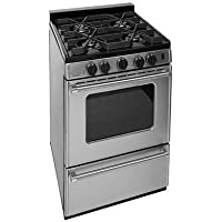 Premier P24S3102PS 24 PRO Series Sealed Burner Gas Range with 4 Sealed Burner Continuous Cast Iron Grates Electronic Ignition Fully Insulated Oven and Two Heavy-Duty Oven Racks: St