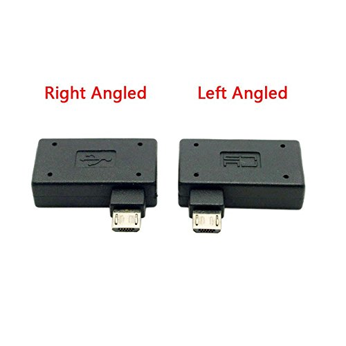 (CHENYANG CY 2pcs 90 Degree Left & Right Angled Micro USB 2.0 OTG Host Adapter with USB Power for Cell Phone & Tablet)