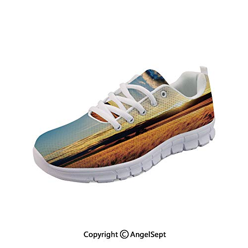 SfeatruAngel Lightweight Casual Barley in Sunset Sunbeams Shadows Breathable Mesh Shoes