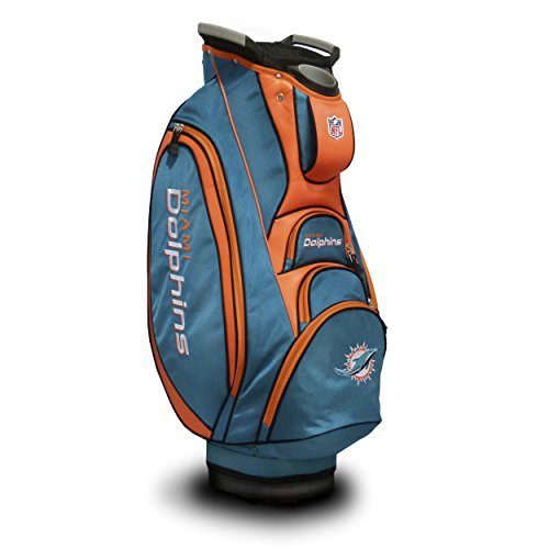 Team Golf NFL Miami Dolphins Victory Golf Cart Bag, 10-way Top with Integrated Dual Handle & External Putter Well, Cooler Pocket, Padded Strap, Umbrella Holder & Removable Rain Hood