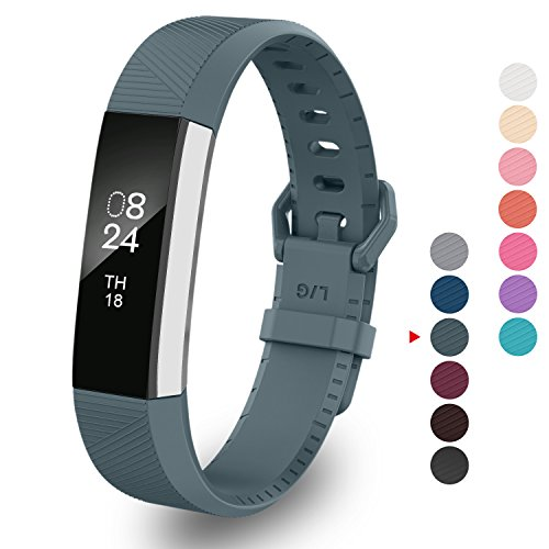Greeninsync Band for Alta Small, Fitbit Alta HR Accessories Replacement Band Watch Buckle Wristbands for Fitbit Alta/Fitbit Alta HR Strap Bracelets W/ Same Color Metal Clasp and Fastener (Slate)