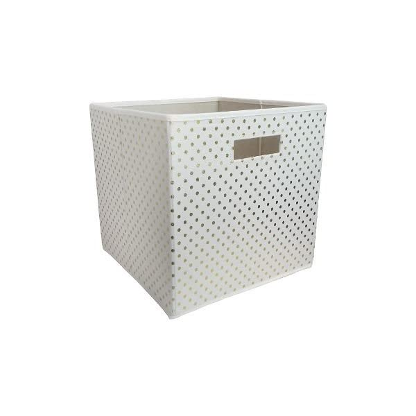 Pillowfort-White-Fabric-Storage-Box-with-Gold-Dots