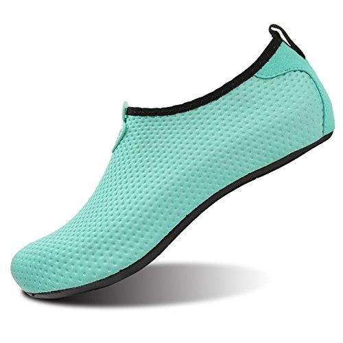 L-RUN Men Quick-Dry Barefoot Socks Pool Aqua Water Shoes Green L(W:8.5-9) M US