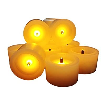 Flameless Candles with a Build in Timer REAL WAX Faux Black Wick Set of 6 Battery Operated Romantic Ivory Votive Candles - Great Gift
