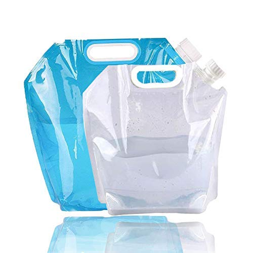 5/10 Litres Collapsible Water Container, Freezable, BPA Free Plastic Water Carrier Tank, Outdoor Folding Water Bag for Sport Camping Riding Mountaineer, Food Grade (5L Water Bag+10L Water - 10l Water