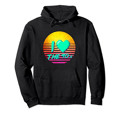 80's-90's Themed Costumes (Unisex Retro I Love The 90's Hoodie 90s clothes for women and men Small Black)