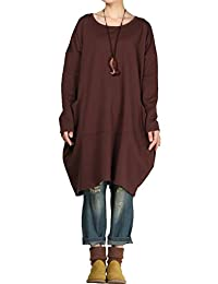 Mordenmiss Women's Long Sleeve Tops Round Neck Tunic With Pockets