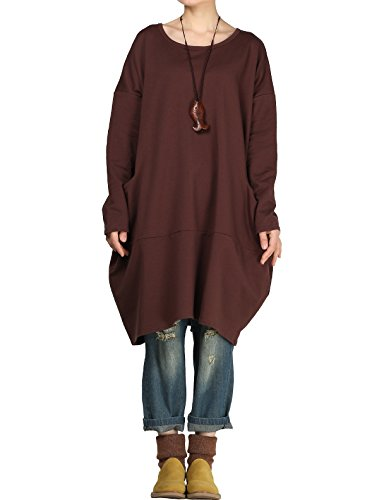 Mordenmiss Women's Stylish Sweatshirt Dress Knitted Jumpers Blouse Pullover w/Pockets L Coffee ()