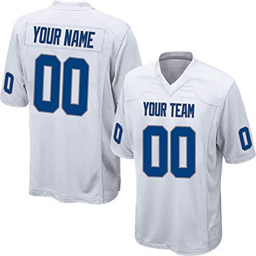 f9e26565738 Customized Women's White Mesh Football Game Jersey Embroidered Team Name  and Your Numbers,Royal Blue